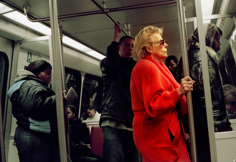 A Woman Standing on a Metro Train in Washington DC in April 2006.