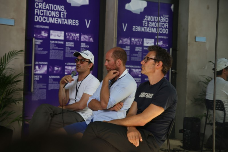 Vincent Perez, Benoit Baume, and Michel Hazanavicius at a conference, Arles, 2017