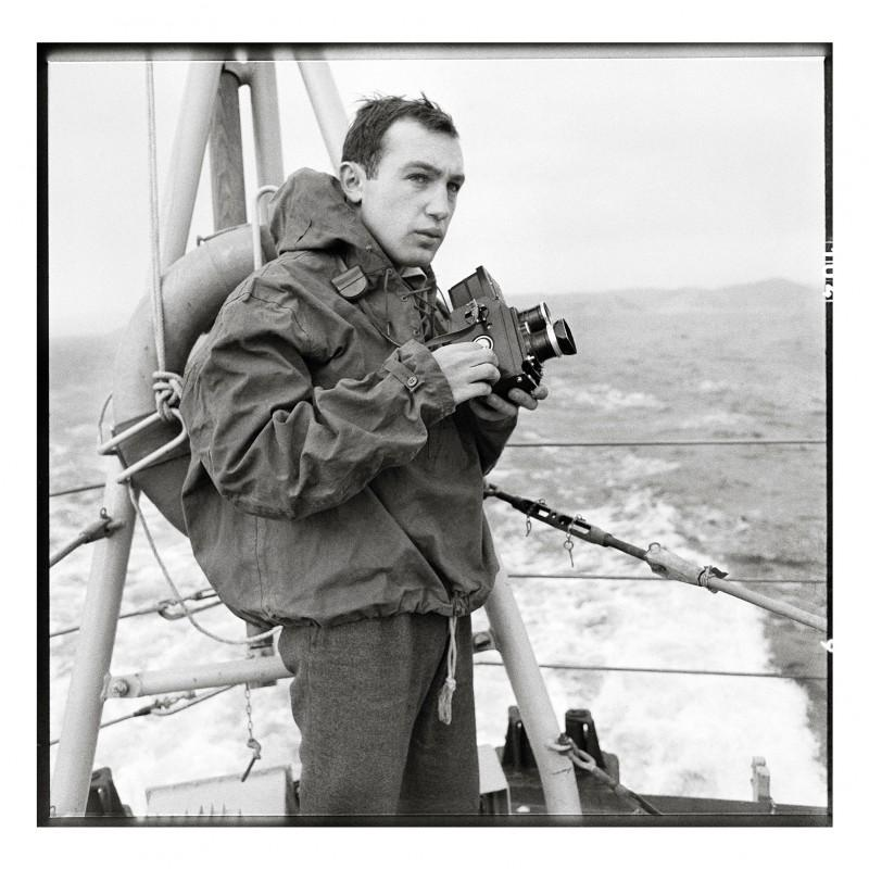 "Raymond Depardon reporting on destroyer escort the ""Picard"", Toulon, 1962-1963. Photographer unknown / R. Depardon's private archive."