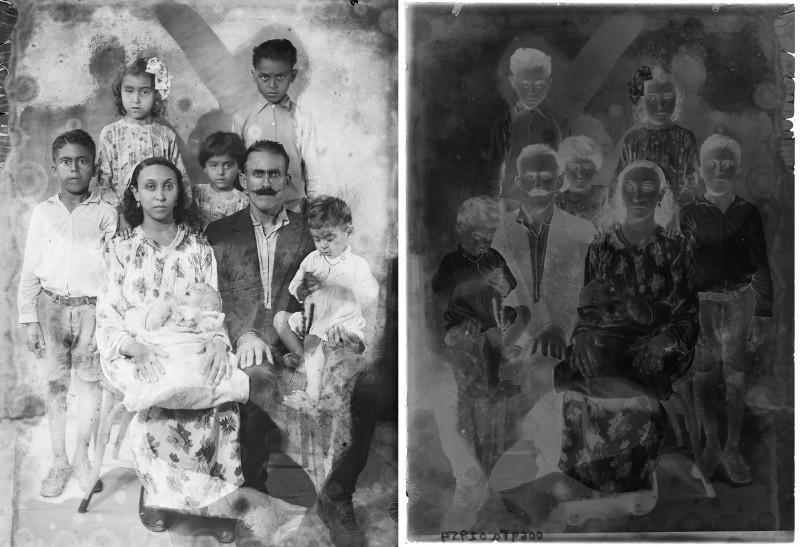 Studio family portrait, Mohamad Arabi, Tripoli, Lebanon, 1940-1950. Gelatin silver negative on glass with traces of retouching and physicochemical deteriorations, 13 x 8 cm. Digital conversion generated by the AIF in 2017. Collection FAI, courtesy of the